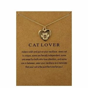 Gold Cat Lover Make a Wish Necklace